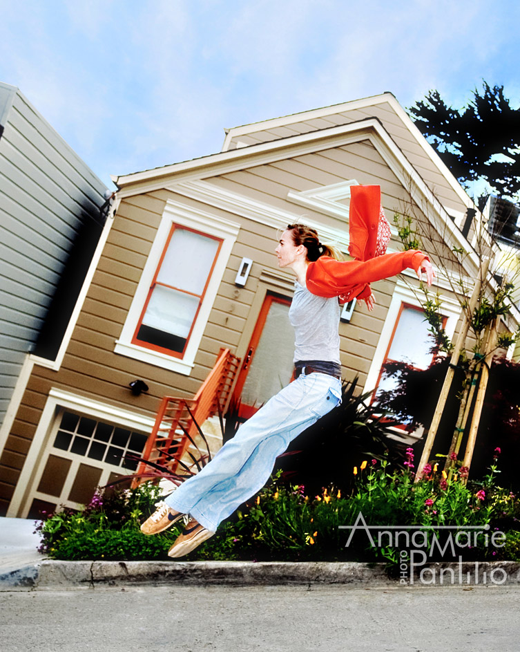 dancer jumping steep San Francisco hill