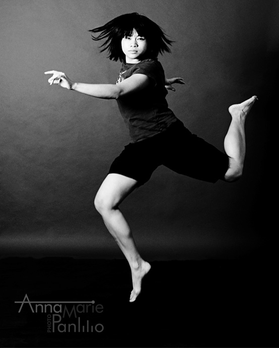 Anna Marie jumping black and white