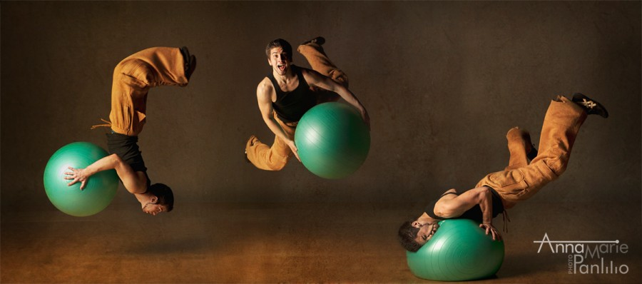 Triptych of Ben and the green bouncy ball
