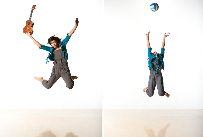 Elyssa jumps with guitar and volleyball