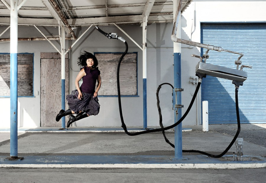 AM jumps at an abandoned gas station.
