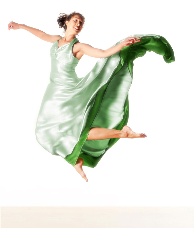 Jeanine floats peacefully in a green princess dress